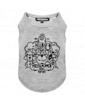 T-Shirt Doodle Gris pour chiens - Milk&Pepper