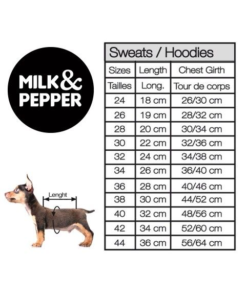 Sweat Size Guide Milk&Pepper