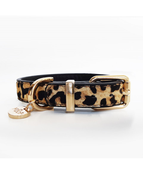 Leopard leather dog collar - Milk&Pepper